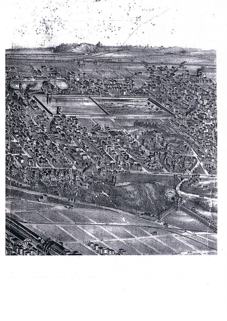 Bird's-eye view of Jersey City in black and white