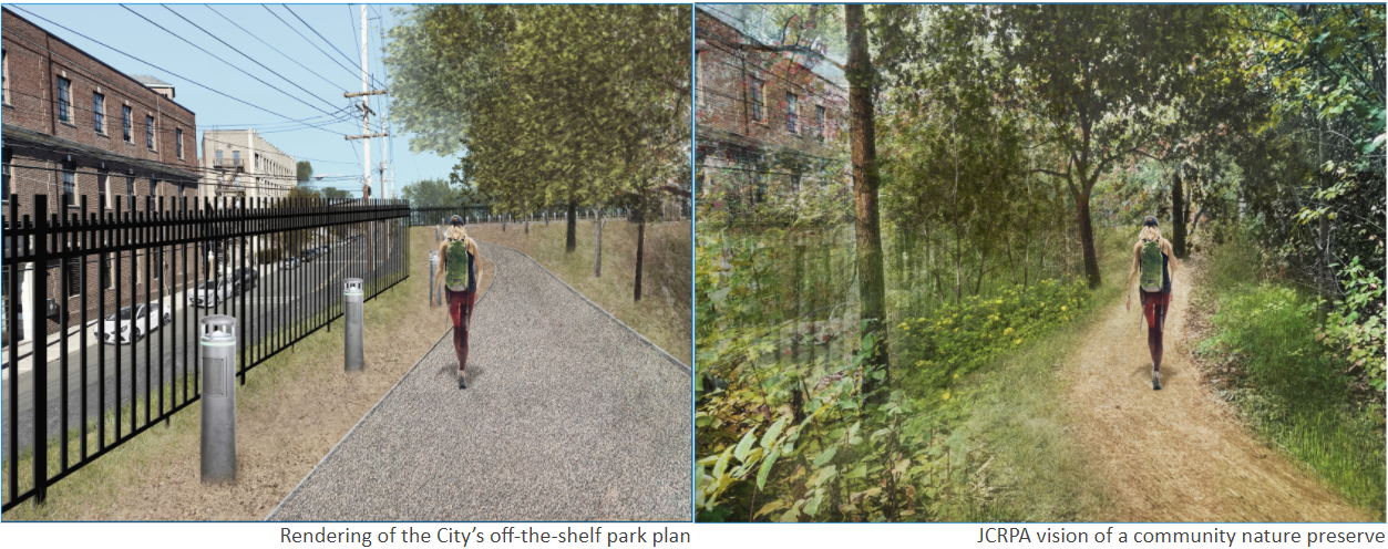 Rendering of the city's off-the-shelf park plan,  compared to the Alliance's vision. The City's plans look urbanized, while the Alliance's is a wide hiking trail.
